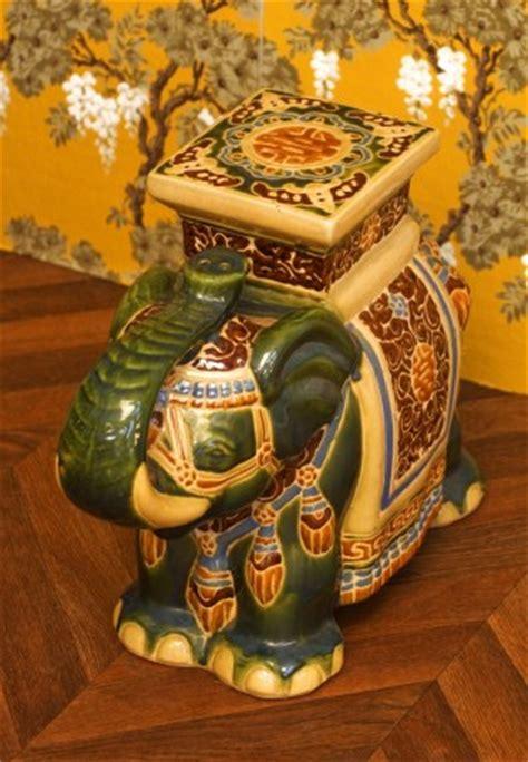 statue delephant sellette elephant vintage vert asie