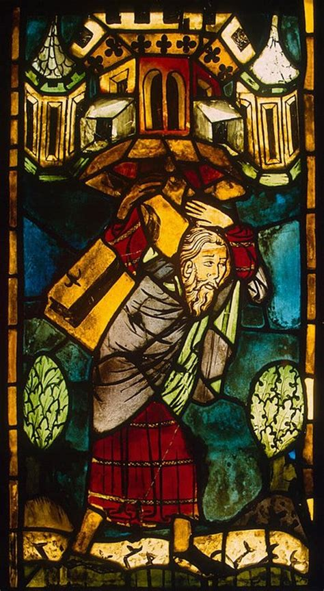 stained glass panel samson carrying  gaza gate