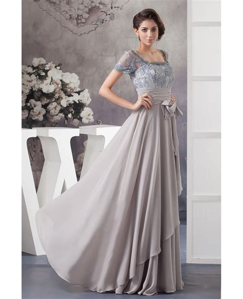 A-line Square Neckline Floor-length Lace Chiffon Mother of ...