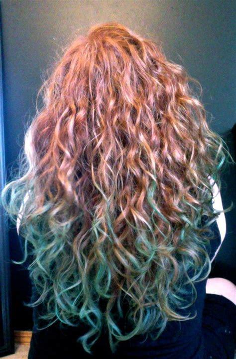Redhead Hair Chalking Ginger Dip Dye Teal Aqua Blue Green