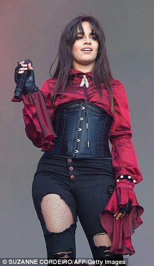 Camila Cabello Dons Burgundy Blouse Beneath Corset