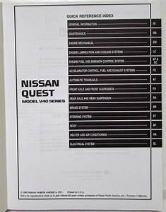 1993 Nissan Quest Service Shop Repair Manual Model V40 Series