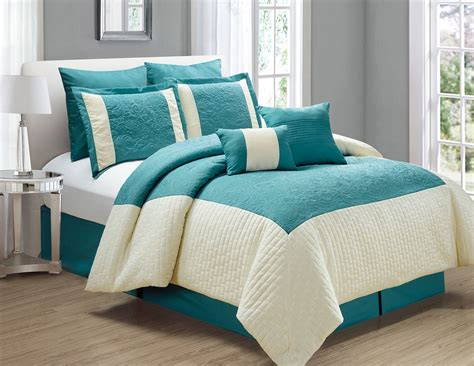 Teal Bedding by 8 Poloma Teal Ivory Comforter Set