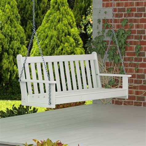 white porch swing polywood vineyard 3 person plastic white porch swing
