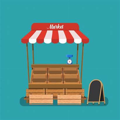 Market Stall Stand Vector Empty Farm Vegetable