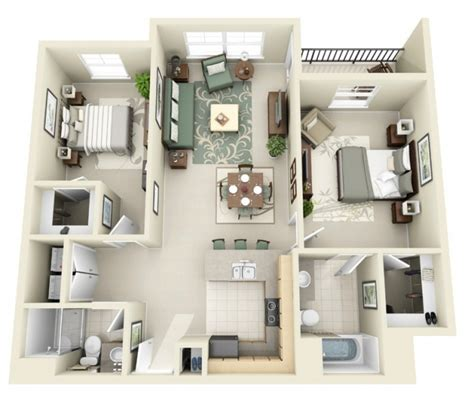 appartement avec 2 chambres idee plan3d appartement 2chambres 28