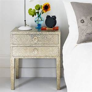 Embossed White Metal 2 Drawer Bedside Table Graham & Green
