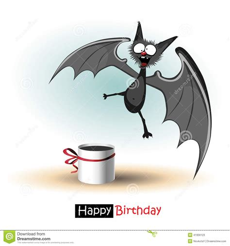happy birthday smile bat card stock illustration image