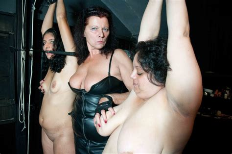 Old Mistress In Leather And Her Suspended Fat Slaves Enjoy Foursome - YOUX.XXX