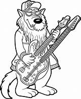 Metal Heavy Band Coloring Guitar Vector Clip Illustrations Wolf sketch template