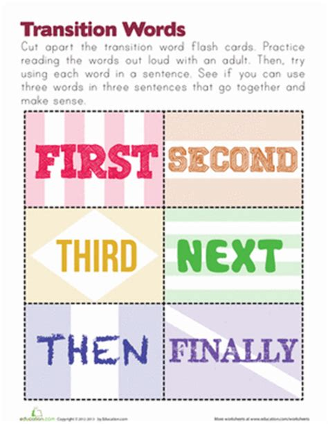 transition words worksheet education