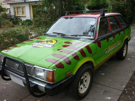 jurassic park car old subaru wagon turned into jurassic park tour car