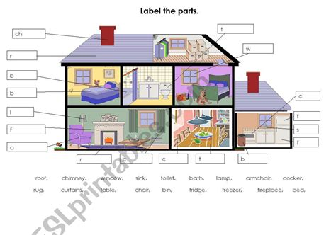 parts of a house label parts of the house home esl worksheet by tomos