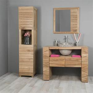 meuble sous vasque simple vasque en bois teck massif With meuble salle de bain mennza