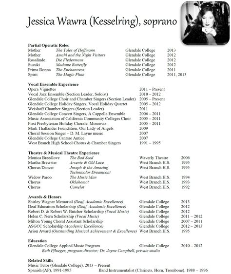 How To Write A Vocal Performance Resume by Performance Resume Sedated Koala