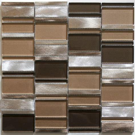 dalle mosaique aluminium et verre carrelage cuisine cr 233 dence ceti marron carrelage inox fr