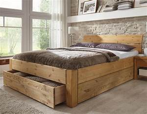 Massivholz Betten 180x200 : massivholzbett tarija mit stauraum ~ Markanthonyermac.com Haus und Dekorationen