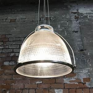 Industrial, Vintage, Glass, Holophane, Pendant, Light