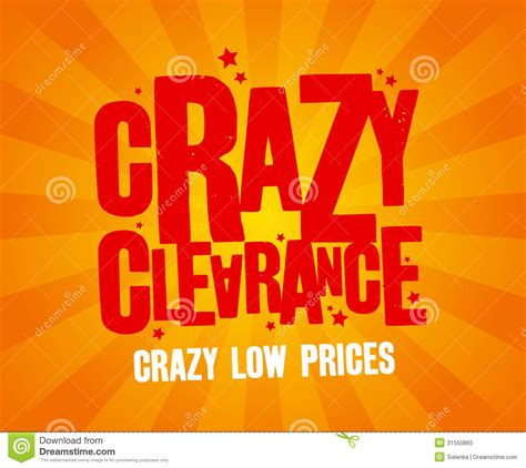 crazy clearance banner stock vector illustration