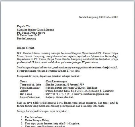 contoh surat lamaran kerja berdasarkan informasi staf