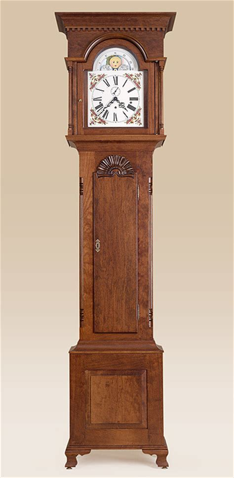 Chester County Grandfather Clock   Carved Shell