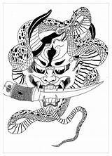 Demon Japan Coloring Adult Coloriage Colorare Disegni Japon Giappone Japanese Dessin Japonais Hannya Coloriages Adulti Malbuch Stampare Adults Colouring Mask sketch template
