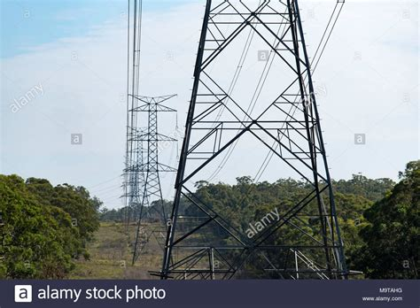 high tension  high voltage power poles  lines  nsw