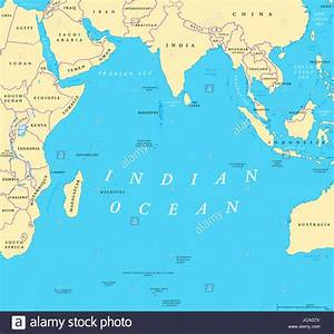 Indian Ocean political map. Countries and borders. World's ...