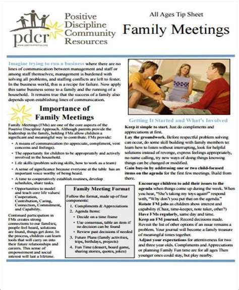 5 family meeting agenda templates are collected for any of your needs. 10+ Family Agenda Templates - Free Sample, Example Format ...