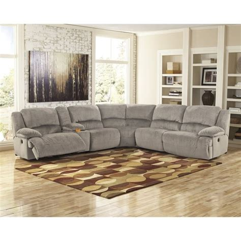 ashley toletta  piece corner console reclining sectional  granite        kit