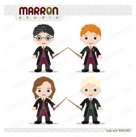 harry potter inspired set harry ron hermione  draco