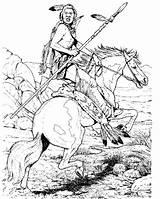 Coloring Indian Native Indians Printable Horse Cowboy Adult Mandala War Cherokee Drawing Animal West Chief Sheets Colouring Horses Drawings Patterns sketch template