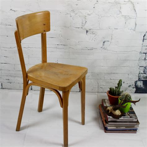 chaise bistrot ancienne baumann thonet en bois clair vernis vintage