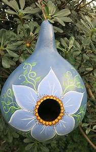 Painted Gourd Birdhouse With Flower  Floral Bird House