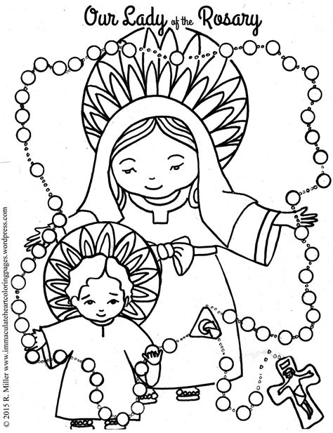 lady   rosary coloring page immaculate heart