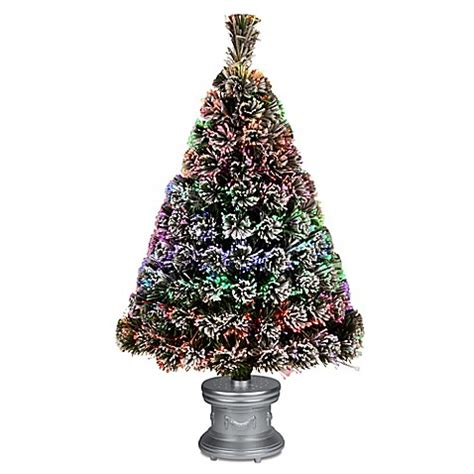 silver fiber optic christmas tree buy national tree 3 foot fiber optic evergreen pre lit flocked tree with silver base from bed