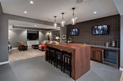 Basement Bar Island by Bar With Simple Thick Wood Table Brick Backsplash Grey