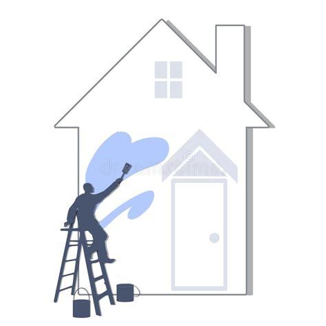 Das Haus Hellblau Malen Stock Abbildung Illustration Von