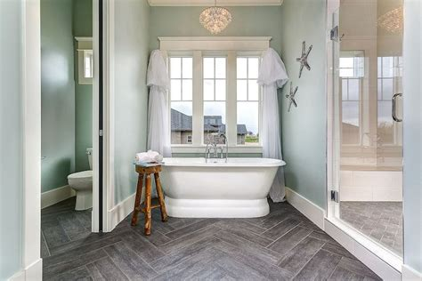 Serene Bathroom Dressed Silver by Beautiful Bathroom With Separate Water Closet Accented