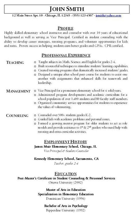 Type Of Resume For Teachers by Functional Resume Sle Hire Me 101