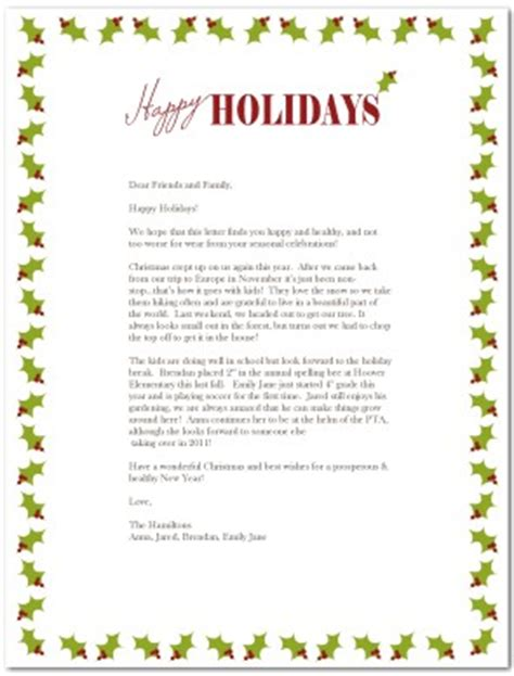 printable modern holiday letter template