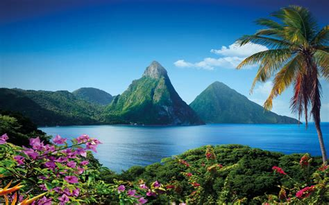 gros piton mountain  saint lucia caribbean island