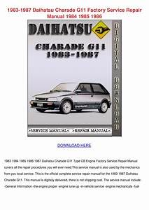 1983 1987 Daihatsu Charade G11 Factory Servic By