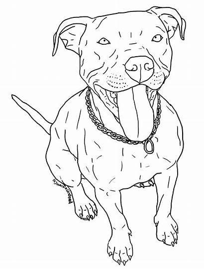 Pitbull Coloring Pit Dog Bull Puppy Cartoon