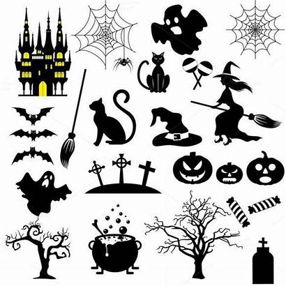 Halloween Icons Icone Bianco Delle Stencils Illustratie