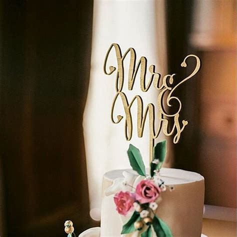 mr and mrs rustic wedding cake topper laser cut wood