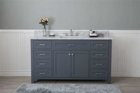 grey shaker  bathroom  drawers vanity  marble top