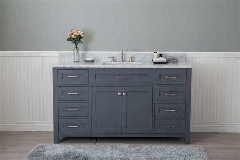 """Grey Shaker 60"""" Bathroom 8 Drawers Vanity w/ Marble Top"""