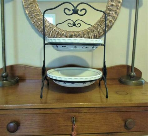 longaberger wrought iron metal  tier pie rack server   pie plates ebay