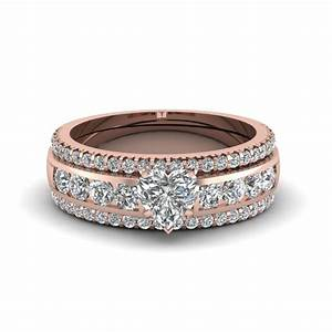 Heart Diamond Bridal Trio Set In 14K Rose Gold ...